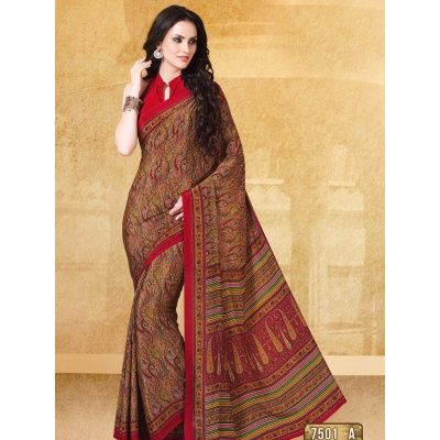 Admirable Red Digital Printed Saree with Pink Matching Color Blouse. It Contained the work of Printed. The Blouse can be customized up to bust size 44