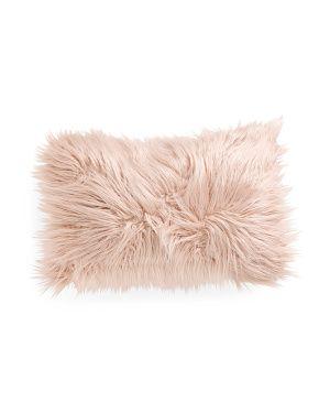 14x22 Faux Mongolian Fur Pillow