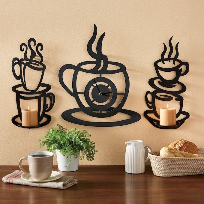 Coffee Cup Wall Clock And Sconce Set Kitchen Decor Themes Coffee Coffee Bar Home Candle Decor