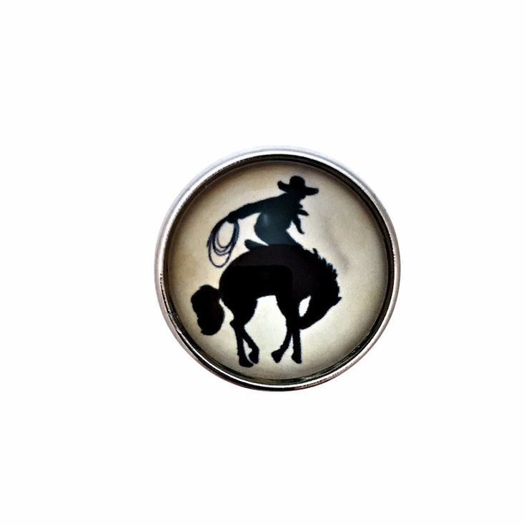 #410 Bronco Horse Rider Snap 20mm For Snap Jewelry