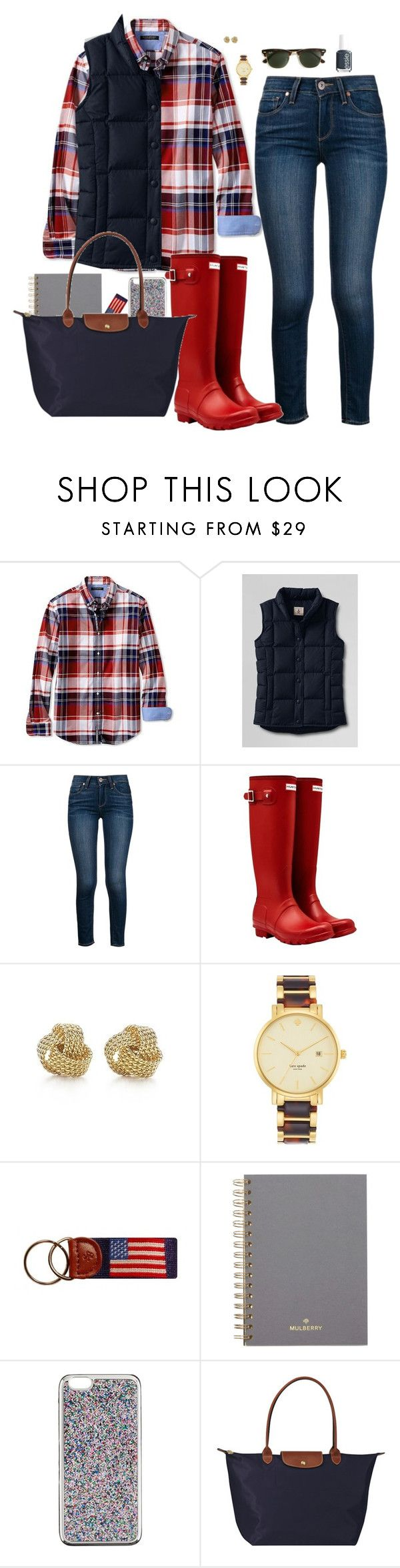 """""""11.3.15"""" by sc-prep-girl ❤ liked on Polyvore featuring Banana Republic, Lands' End, Paige Denim, Hunter, Tiffany & Co., Kate Spade, Mulberry, J.Crew, Longchamp and Ray-Ban"""