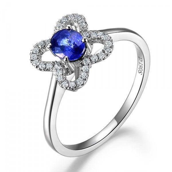 Forme De Fleur De Saphir Et Bague De Fiançailles En Diamant   Sapphire Diamond Sets
