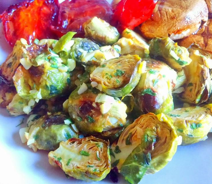 """My version of """"Tin Roof Brussel Sprouts®""""   This recipe was a request by my McDougall friend Cyndi. She is a lover of brussel sprouts and..."""