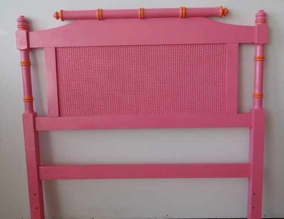 I repainted my old white faux bamboo headboard turquoise for the downstairs guest room.... Love it.