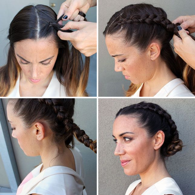 Section hair down the middle. Start on one side using the inside out french braid technique (aka the corn row technique) and braid all the way down. Wrap the end of the hair into a loose bun and pin. Repeat with the other side and you're done.
