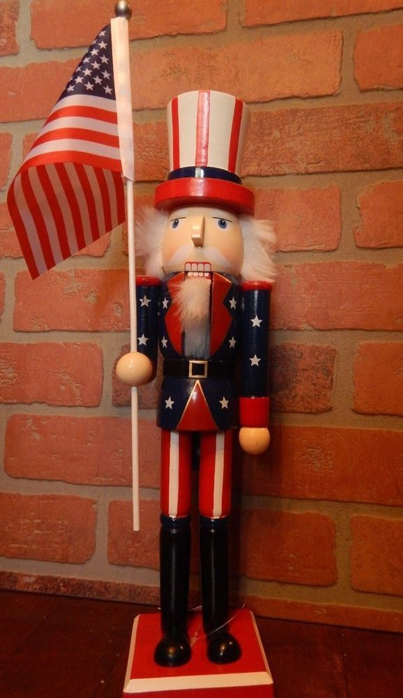 "15"" Nutcracker Uncle SAM USA Removable American Flag Red White Blue White Beard"