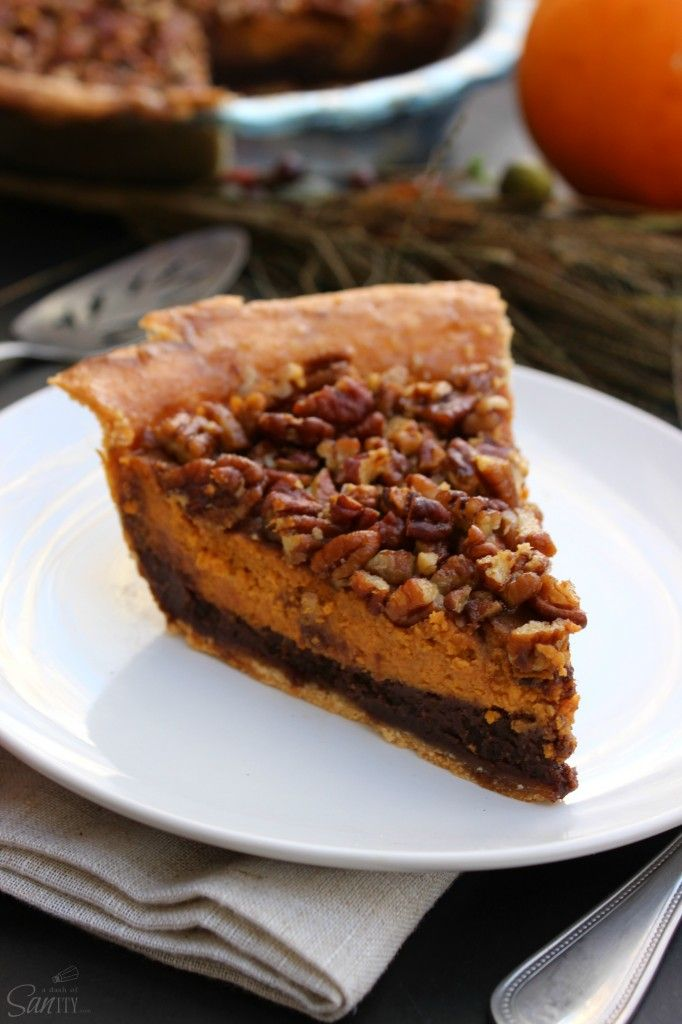 Chocolate Pecan Pumpkin Pie - the ultimate holiday pie with layers of chocolate, pumpkin and pecans.