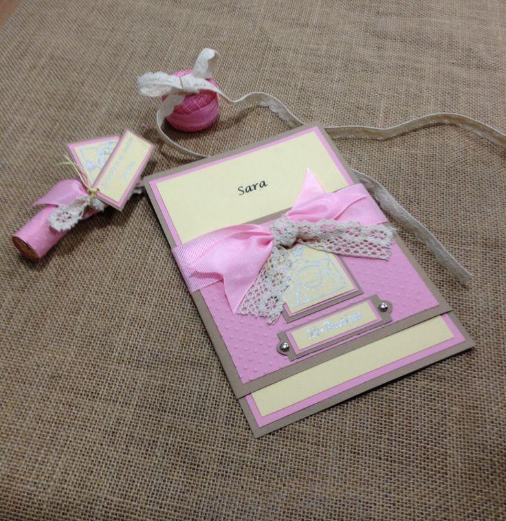 Esta es nuestra versión de las tarjetas de Teresa, que nos ha encantado, con el detalle para las comuniones. https://www.facebook.com/RepipiandTalleres?ref=hl