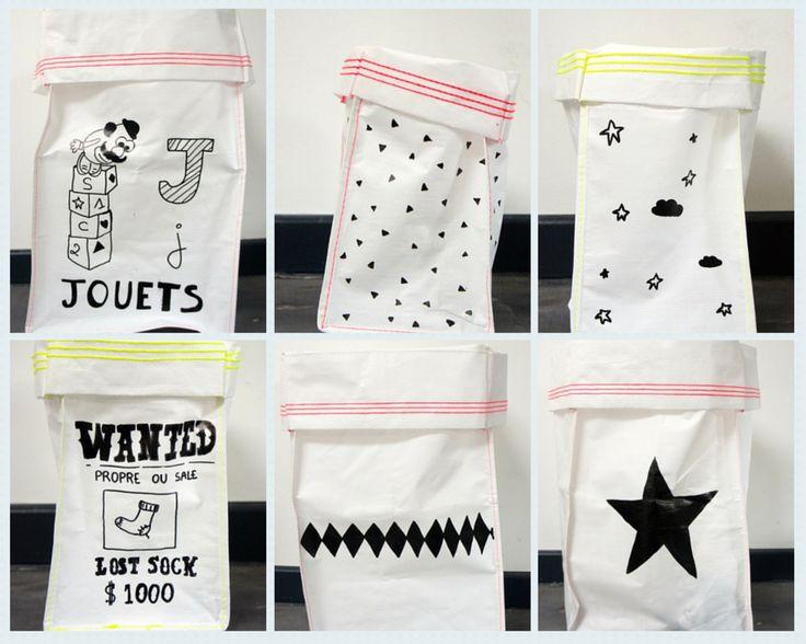 DIY : Des sacs «Varpunen-like» pour 1€ , mes exemples de réalisation… Sac à jouets, cache-pot, sac à chaussettes célibataires…