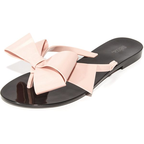 Melissa Harmonic Bow III Thong Sandals ($55) ❤ liked on Polyvore featuring shoes, sandals, flip flops, rubber sole shoes, thong sandals, polish shoes, toe post sandals and melissa flip flops