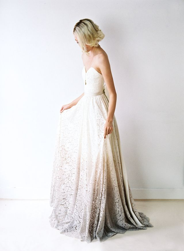dip dyed lace wedding dress from truvelle