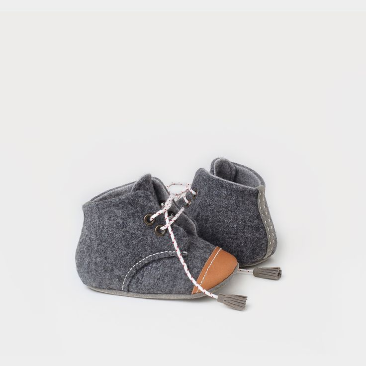 wool & leather oxford baby booties /