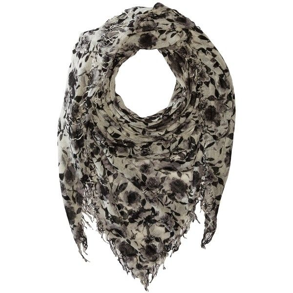 Chan Luu Floral Printed Cashmere Scarf (Black/White Combo) (315 CAD) ❤ liked on Polyvore featuring accessories, scarves, cashmere shawl, black and white shawl, floral print scarves, black and white scarves and cashmere scarves