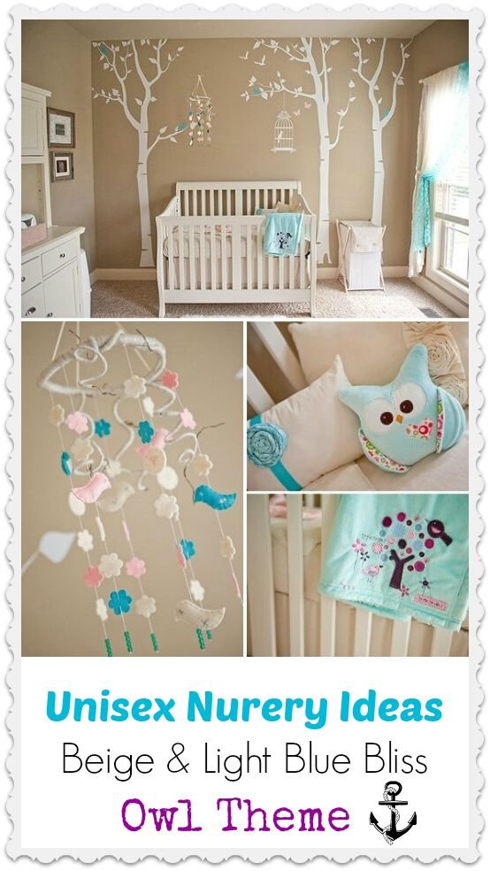 Soft Serene Nursery With Touches Of Pink And Aqua Love The Owls Trees Birds Bird Cage