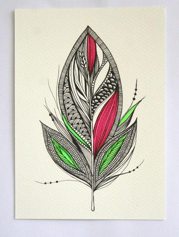 Harvest+Feather.+5x7+Original+Artwork.+Ink+and+par+MyZenMode,+$25.00