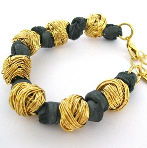 Knitted Ball Leather Bracelet Gold Grey