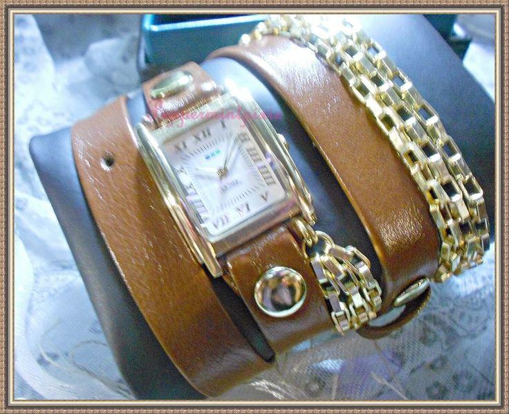 La Mer Brown Leather &Gold Chain Wrap Watch LMSCW1023B New Box SALE  #LaMer #WrapWatch
