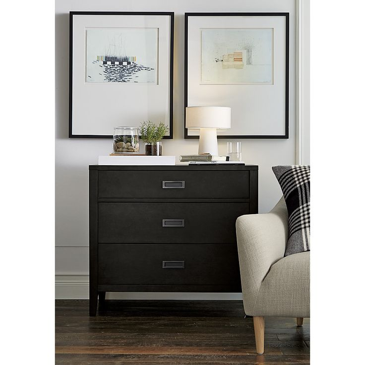 Shop Arch Charcoal 3-Drawer Chest.   Designed by Blake Tovin, the 3-drawer chest's inset matte pewter pulls and smartly tapered legs add to the fresh, contemporary look.  The Arch White 3-Drawer Chest is a Crate and Barrel exclusive.