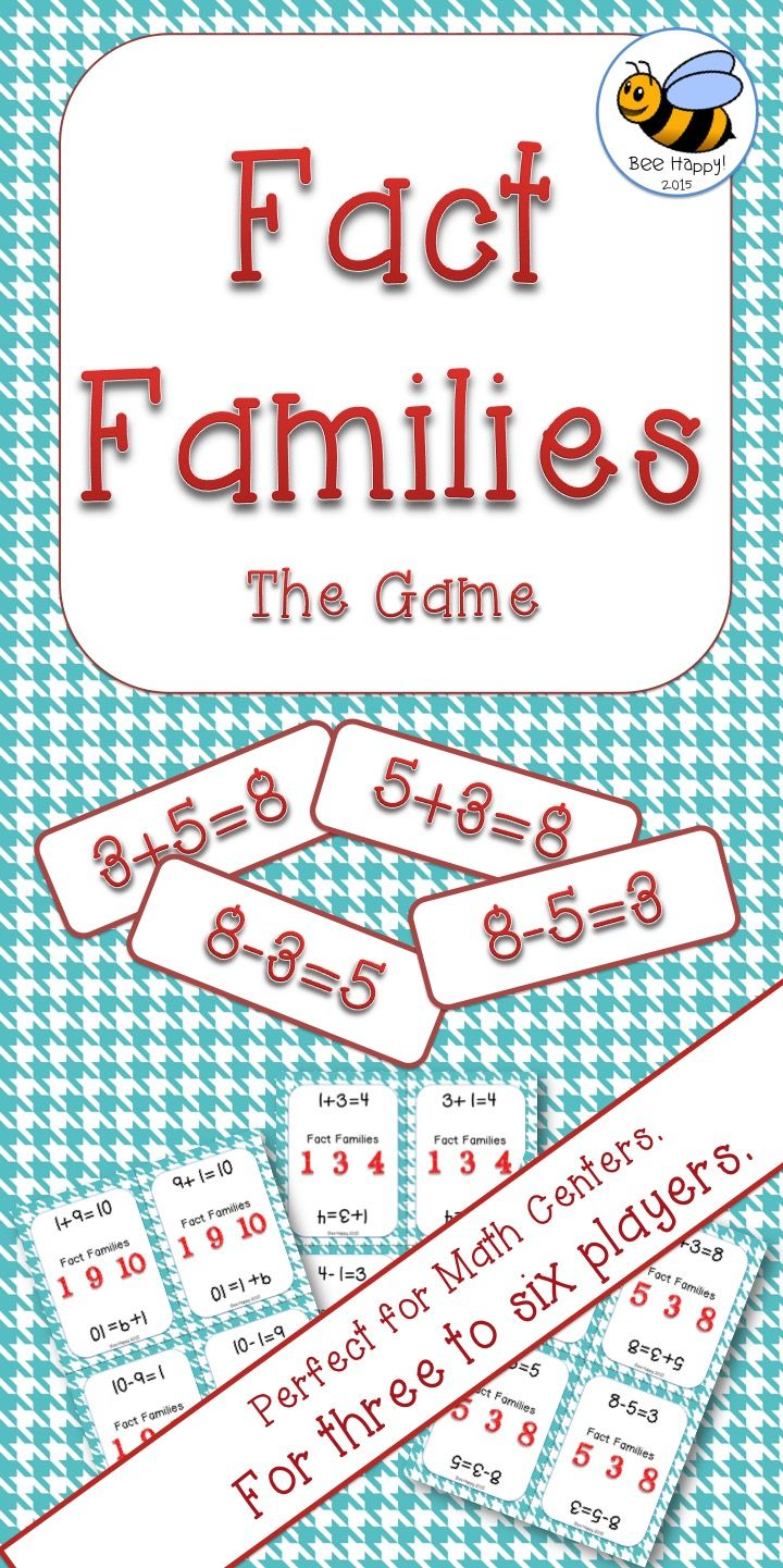 "Based on the old game of Happy Families, ""Fact Families - The Game"" is fun for three to six players. Each player tries to collect as many fact families as possible by asking their fellow players for specific facts. When they make a whole family, it is placed in front of the player. The winner is the player with the most fact families when all cards have been played."