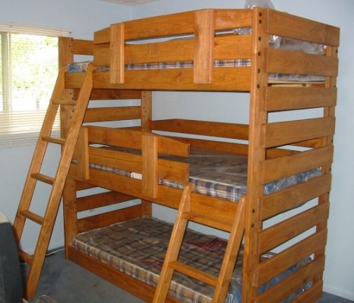Solid Wood Triple Bunk Bed For Twin And Full Mattresses Kid Tough Sturdy Enough Three Adults Built To Order In Ohio
