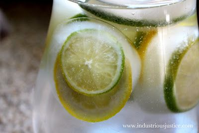 Make extra big ice cubes in cupcake tins. Freeze a slice of lemon or lime on top. Perfect for pitchers.