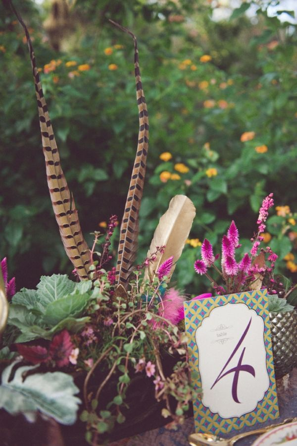 Feather Centerpieces Photo By Christina Lilly
