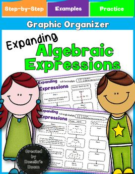 These graphic organizers support students learning to expand expressions. The 2 graphic organizers give a step-by-step guide and examples to scaffold learning. The following graphic organizers are also available: Simplifying Algebraic Expressions Factoring Algebraic Expressions Algebraic Expressions  Simplifying, Expanding & Factoring BUNDLE Looking for a real-world practical application of algebra?