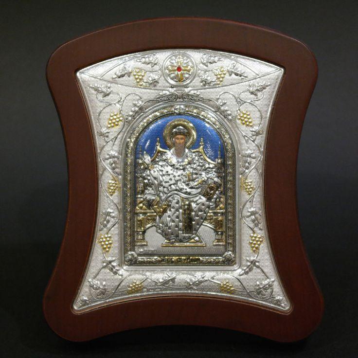 Orthodox Icon Greek Handmade Byzantine Silver 925 Saint Spyridon 14x12cm