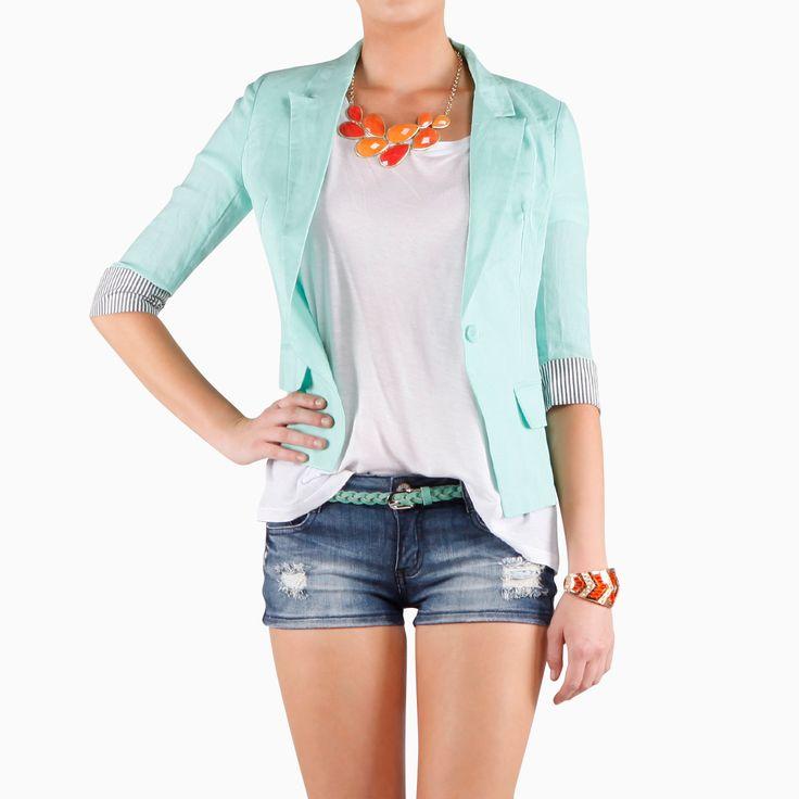 Mint Julip Look by Love Tree and Machine: Linen Blazer, Nice Outfit, As Julip, Cuff Linen, Blazers, Denim Shorts, As Blazer