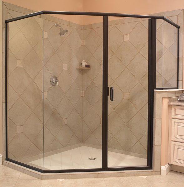 Framed Glass Shower With Black Trim Glass Shower Shower Doors Glass Shower Doors