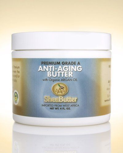 Natural Anti-Aging Butter Unrefined Certified Grade A Shea Butter and Organic Unrefined Argan Oil Blend 4 oz. By AAA Shea Butter by AAA Shea Butter Company By AAA Shea Butter. $18.00. Tough or rough skin (on feet), Frost bites, Healthy skin. Stretch mark prevention during pregnancy, Eczema, Dermatitis. Blemishes and wrinkles, Sunburn, Skin cracks, Insect bites. Dry Skin, Skin Rash, Skin peeling after tanning, Itchy skin. ALL SHEA BUTTERS ARE NOT EQUAL!   100% Pure & Natural Shea ...