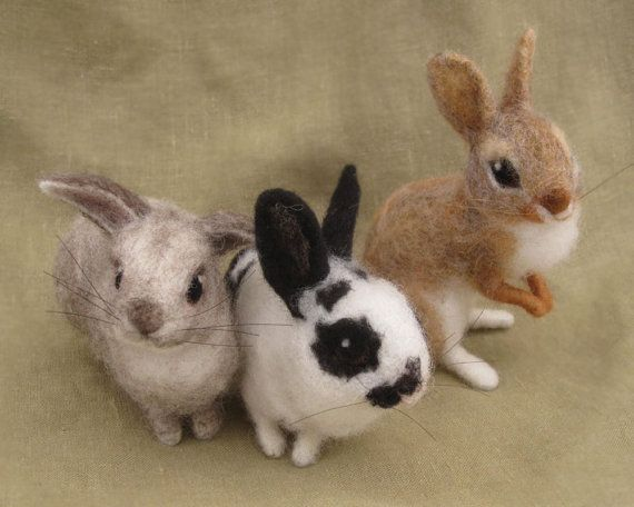 Needle felted spotted bunny rabbit Easter basket by Ainigmati, $95.00