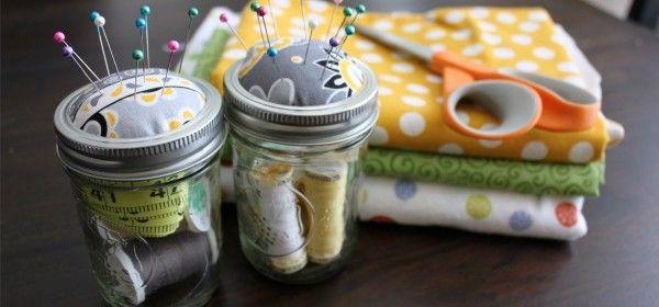 {Mason Jar Sewing Kits}