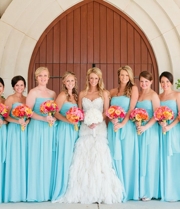 Tiffany blue, coral, and white. Perfect for a spring/summer wedding (EXCEPT DRESSES MUST BE SHORT)