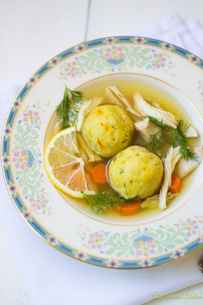 Lemon Saffron Matzo Ball Soup