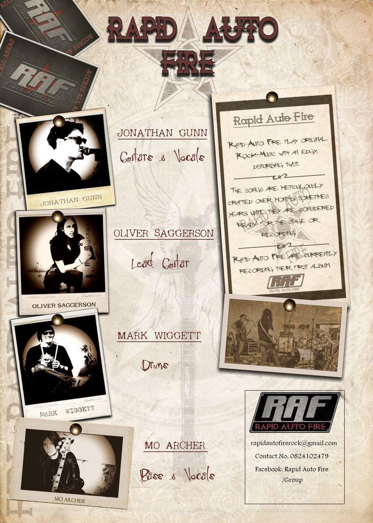 Concept & design: MOFO Graphic Rock. Press-Kit profile-page for the band R.A.F. (Client: R.A.F.)