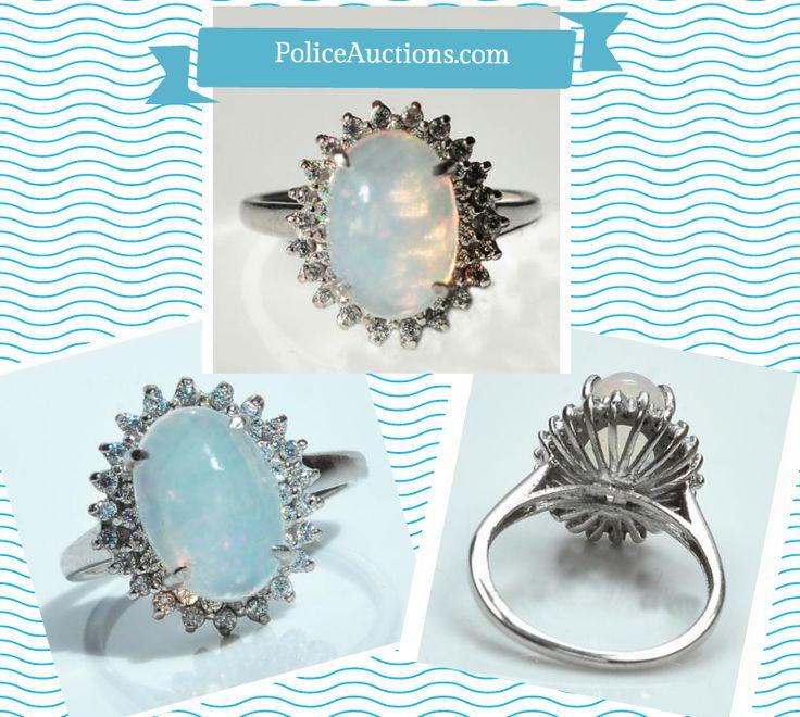 http://bit.ly/1MXl3dK:Gorgeous Womens Solid Sterling Silver 0.47 CTW 44 Diamonds and 1.30 CTW Ethiopian Opal Size 7 Designer Designer