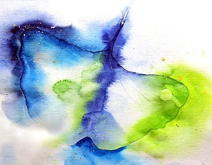 "Aquarell ""Ginkgo""  www.fotografie-und-malerei.de"