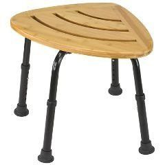 Bamboo Bath Seat and Shower Chair - Attractive bamboo wood bath seat fits nicely in the corner of most bathrooms and shower stalls - Seat is constructed of solid bamboo, a 100 percent renewable resour