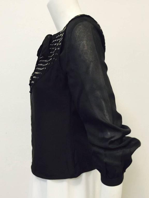 Chloe Black Silk Blouse With Bugle Beaded Bib and Tie  2