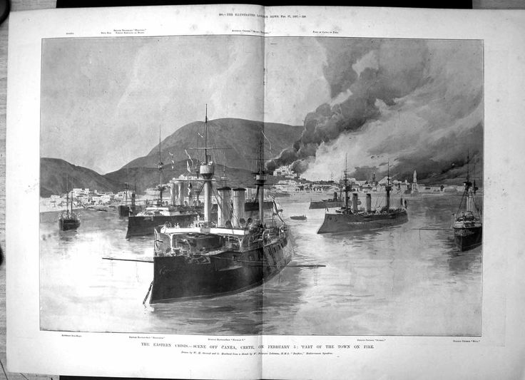 Antique Print of Eastern Crisis Canea Crete Part Town Fire Battleship Barfleur1897