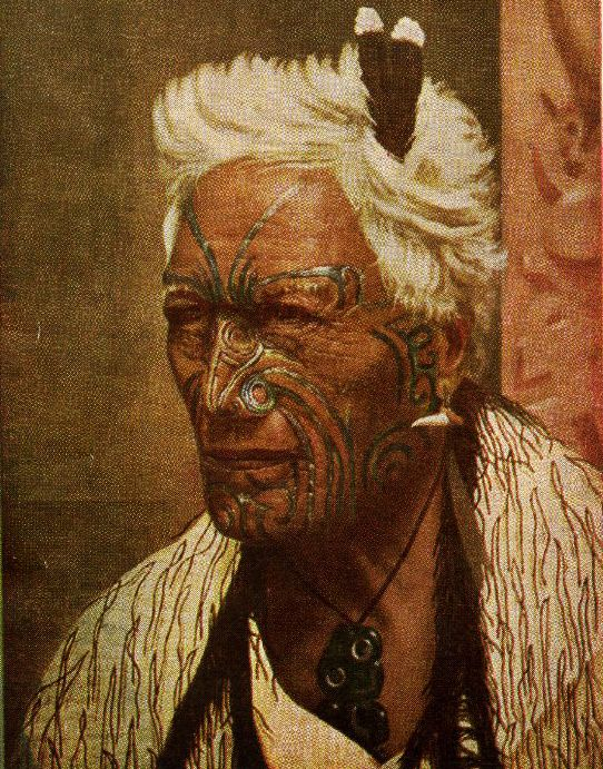 "New Zealand | Portrait of Atama Paparangi based on the photograph ""Atama, a Rangi (chief) of the Arawa Maori, ca. 1920, showing traditional moko (facial tattooing) and skin carving""  Seen here wearing hei tiki (neck pendant), shark tooth ear ornament, huia feathers in his hair, and a korowai (tag cloak). 