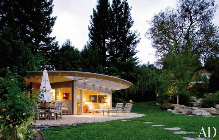 """Contemporary Exterior and David Kesler in Orinda, California.   This Orinda, California, poolhouse sits """"on a plinth above nature, yet within and reinforcing nature,"""" says architect David Kesler."""