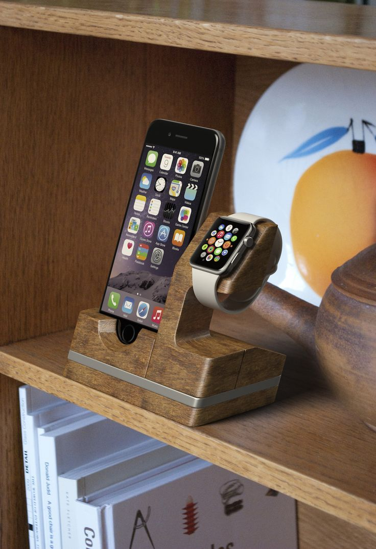 Furniture Contemporary Wood Apple Watch And Iphone Docking Station Iphone Holder Carger Natural Finish Hardwood Material Gadget Accessories Home Furniture Perfect Gift Ideas Cool Wood iPhone And Android Docking Station