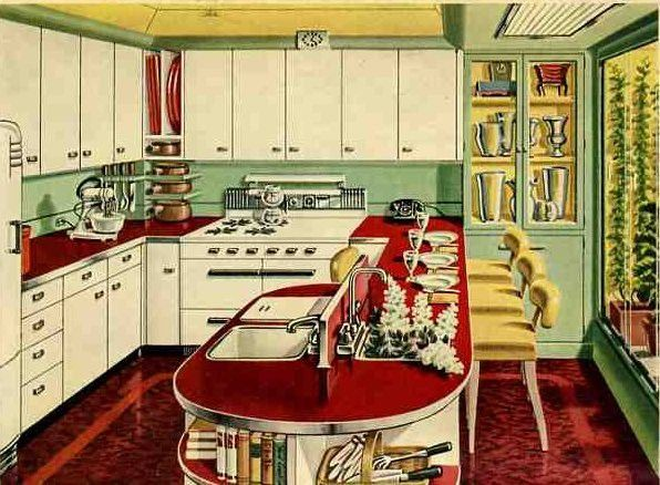 1940s red counters - Mom's kitchen had them.