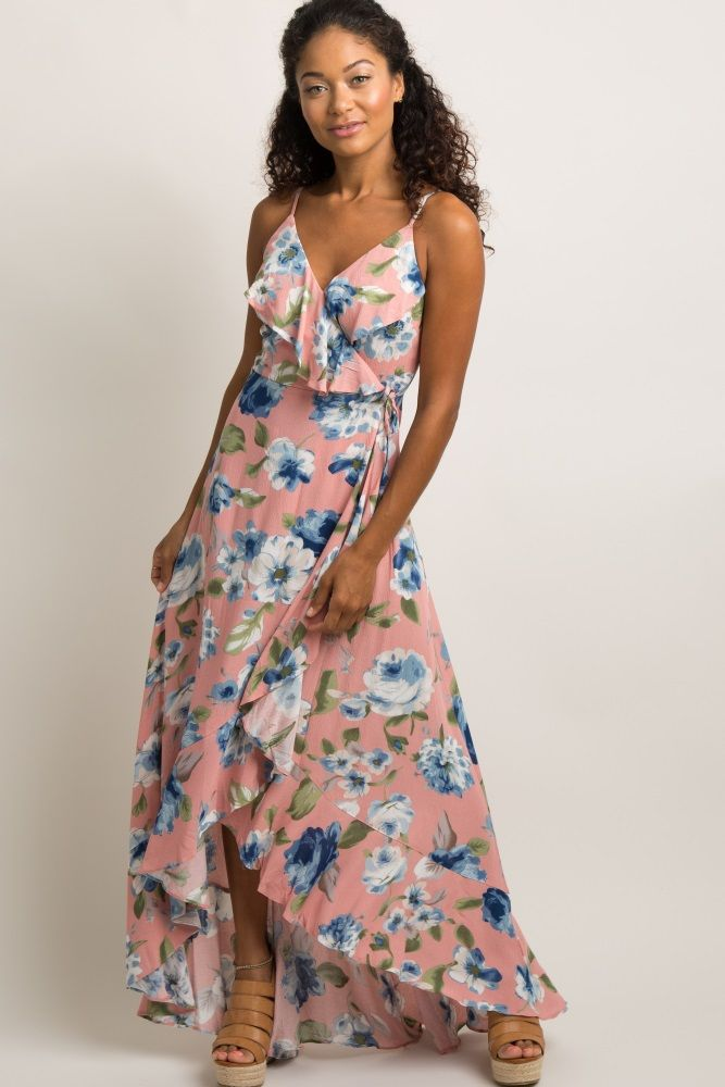 2e9a89e6e036 Mauve Floral Flounce Trim Hi-Low Wrap Tie Dress A floral print, flounce  trim maxi dress featuring a wrap around inner tie style with a side closure.