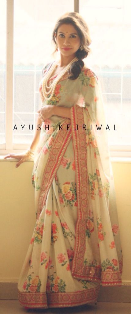 Beautiful #Floral_Saree by Ayush Kejriwal, #Glasgow https://www.facebook.com/Ayushkejriwalbyayush