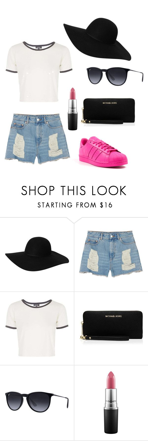 """""""some different for the wknd"""" by pilvihelen on Polyvore featuring Monki, Topshop, MICHAEL Michael Kors, Ray-Ban, adidas and MAC Cosmetics"""
