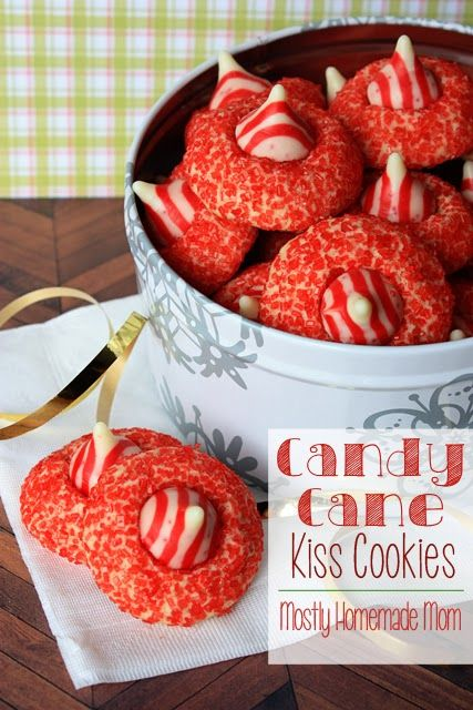 Candy Cane Kiss Cookies - these Christmas cookies are SO festive and absolutely delicious! Such a great gift to give, too!