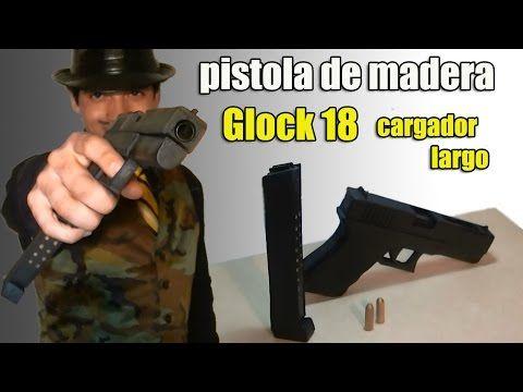 crea tu pistola de madera - glock 18 con cargador largo para disfraces, cortometrajes o un simple adorno :)